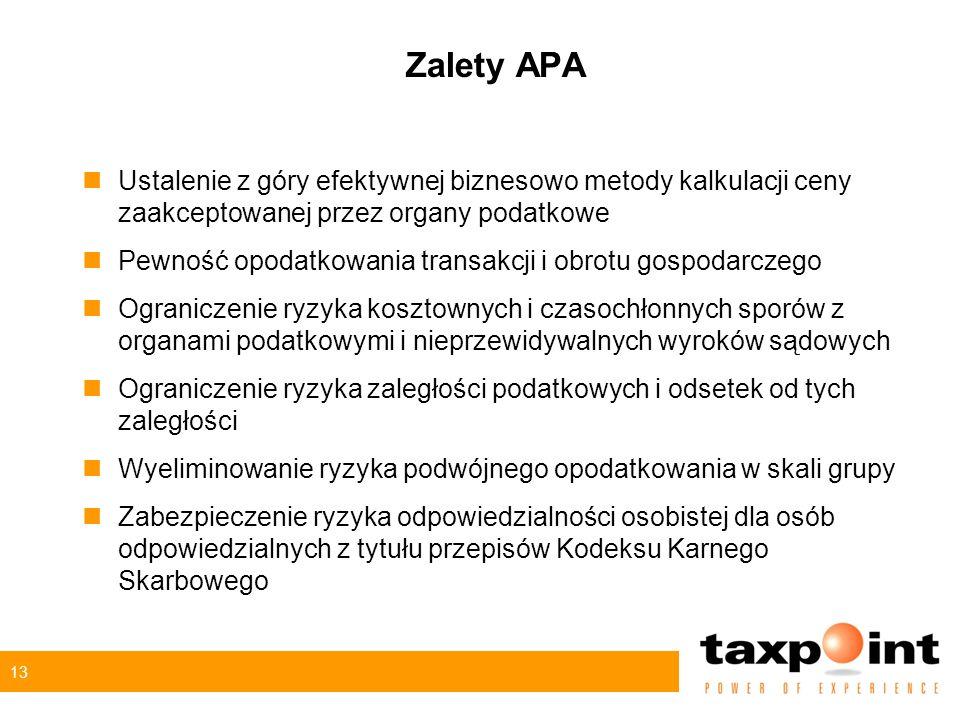 13 Zalety APA nUstalenie z góry efektywnej biznesowo metody kalkulacji ceny zaakceptowanej przez organy podatkowe nPewność opodatkowania transakcji i