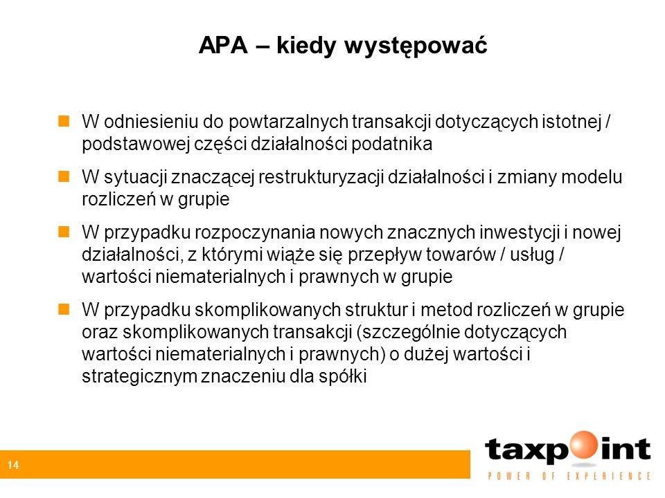 14 APA – kiedy występować nW odniesieniu do powtarzalnych transakcji dotyczących istotnej / podstawowej części działalności podatnika nW sytuacji znac
