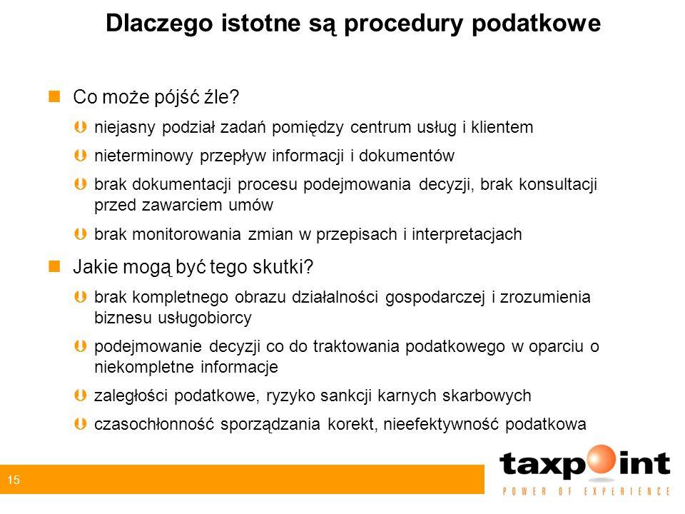 15 Dlaczego istotne są procedury podatkowe nCo może pójść źle? Þniejasny podział zadań pomiędzy centrum usług i klientem Þnieterminowy przepływ inform