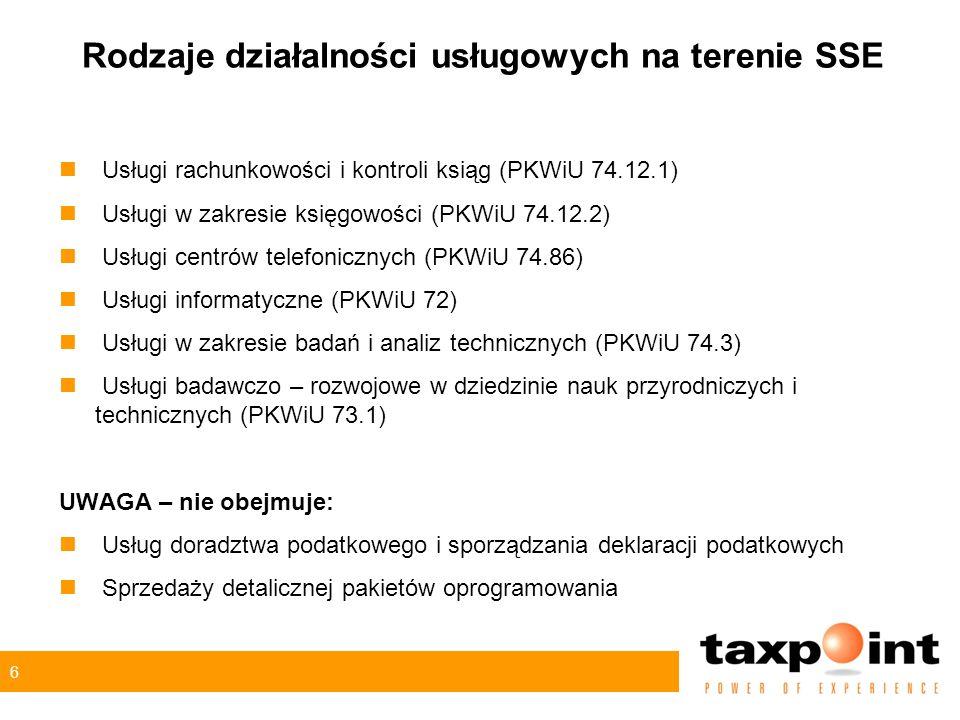 6 Rodzaje działalności usługowych na terenie SSE Usługi rachunkowości i kontroli ksiąg (PKWiU 74.12.1) Usługi w zakresie księgowości (PKWiU 74.12.2) Usługi centrów telefonicznych (PKWiU 74.86) Usługi informatyczne (PKWiU 72) Usługi w zakresie badań i analiz technicznych (PKWiU 74.3) Usługi badawczo – rozwojowe w dziedzinie nauk przyrodniczych i technicznych (PKWiU 73.1) UWAGA – nie obejmuje: Usług doradztwa podatkowego i sporządzania deklaracji podatkowych Sprzedaży detalicznej pakietów oprogramowania