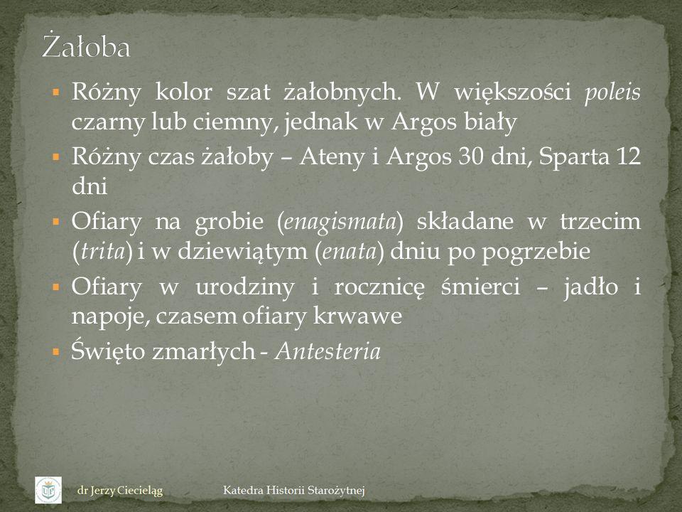 Różny kolor szat żałobnych. W większości poleis czarny lub ciemny, jednak w Argos biały Różny czas żałoby – Ateny i Argos 30 dni, Sparta 12 dni Ofiary