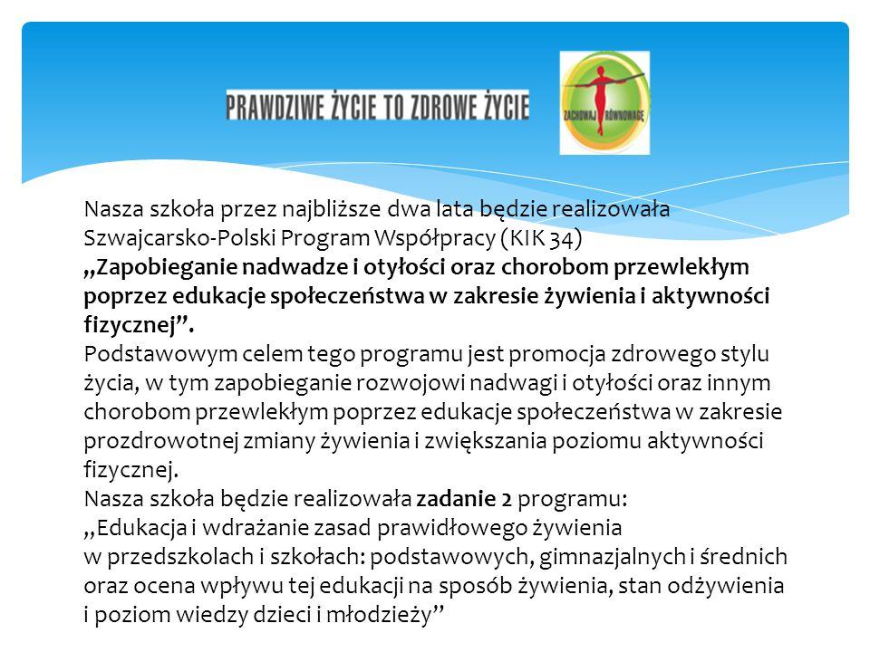 Nasza szkoła przez najbliższe dwa lata będzie realizowała Szwajcarsko-Polski Program Współpracy (KIK 34) Zapobieganie nadwadze i otyłości oraz chorobom przewlekłym poprzez edukacje społeczeństwa w zakresie żywienia i aktywności fizycznej.