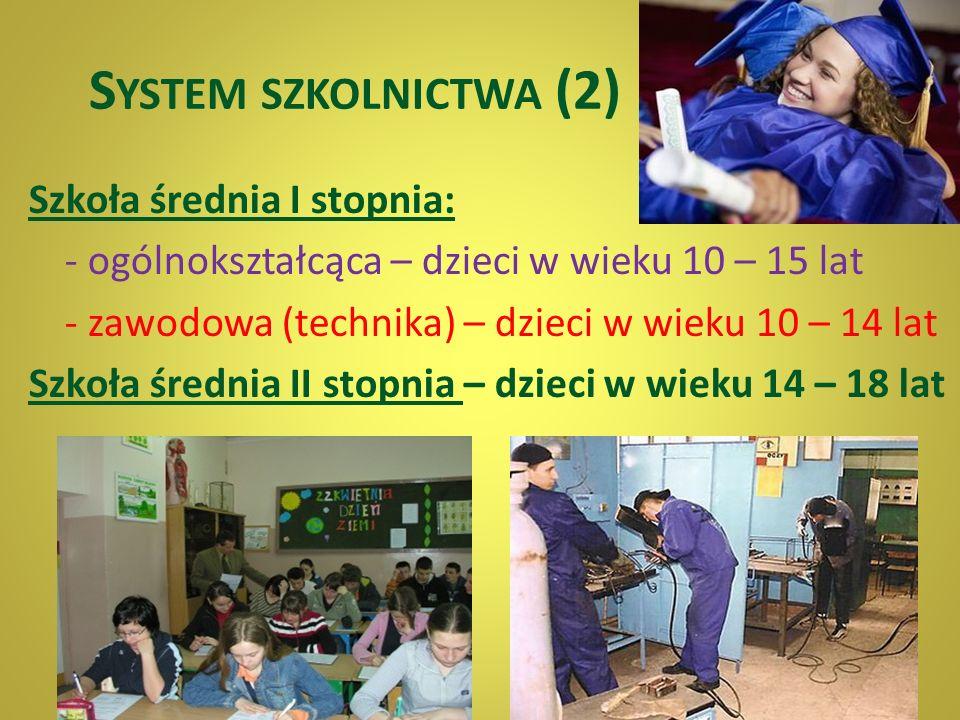 S YSTEM SZKOLNICTWA (1) Edukacja obowiązkowa dla dzieci w wieku 6 – 16 lat. Przedszkola – dzieci w wieku 3 – 6 lat Szkoły podstawowe – dzieci w wieku