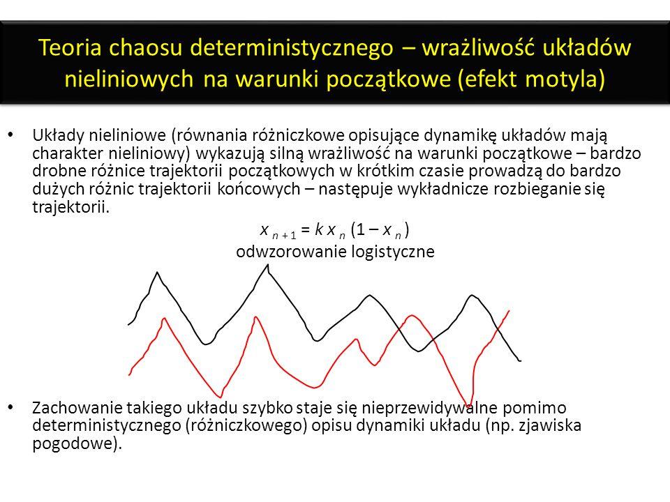 Teoria chaosu deterministycznego – wrażliwość układów nieliniowych na warunki początkowe (efekt motyla) Układy nieliniowe (równania różniczkowe opisuj