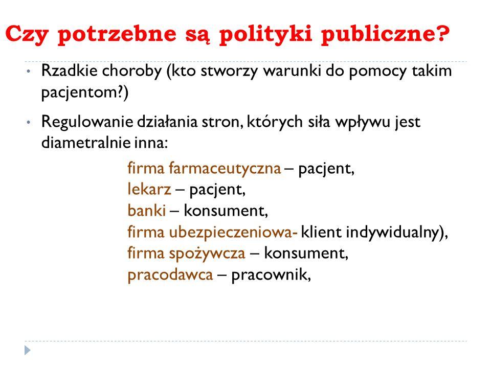 Czy potrzebne są polityki publiczne? Rzadkie choroby (kto stworzy warunki do pomocy takim pacjentom?) Regulowanie działania stron, których siła wpływu