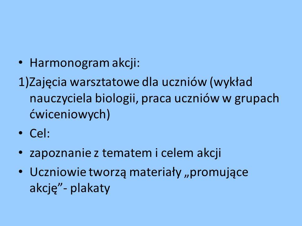 Harmonogram akcji: 1)Zajęcia warsztatowe dla uczniów (wykład nauczyciela biologii, praca uczniów w grupach ćwiceniowych) Cel: zapoznanie z tematem i c