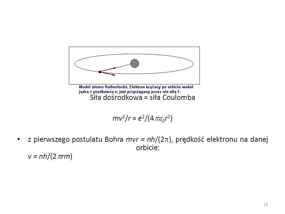 Siła dośrodkowa = siła Coulomba mv 2 /r = e 2 /(4 0 r 2 ) z pierwszego postulatu Bohra mvr = nh/(2 ), prędkość elektronu na danej orbicie: v = nh/(2 rm) 16