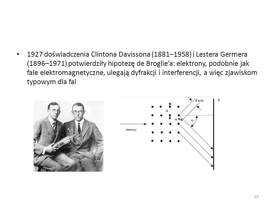 1927 doświadczenia Clintona Davissona (1881–1958) i Lestera Germera (1896–1971) potwierdziły hipotezę de Brogliea: elektrony, podobnie jak fale elektromagnetyczne, ulegają dyfrakcji i interferencji, a więc zjawiskom typowym dla fal 19