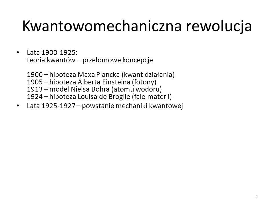 Kwantowomechaniczna rewolucja Lata 1900-1925: teoria kwantów – przełomowe koncepcje 1900 – hipoteza Maxa Plancka (kwant działania) 1905 – hipoteza Alberta Einsteina (fotony) 1913 – model Nielsa Bohra (atomu wodoru) 1924 – hipoteza Louisa de Broglie (fale materii) Lata 1925-1927 – powstanie mechaniki kwantowej 4