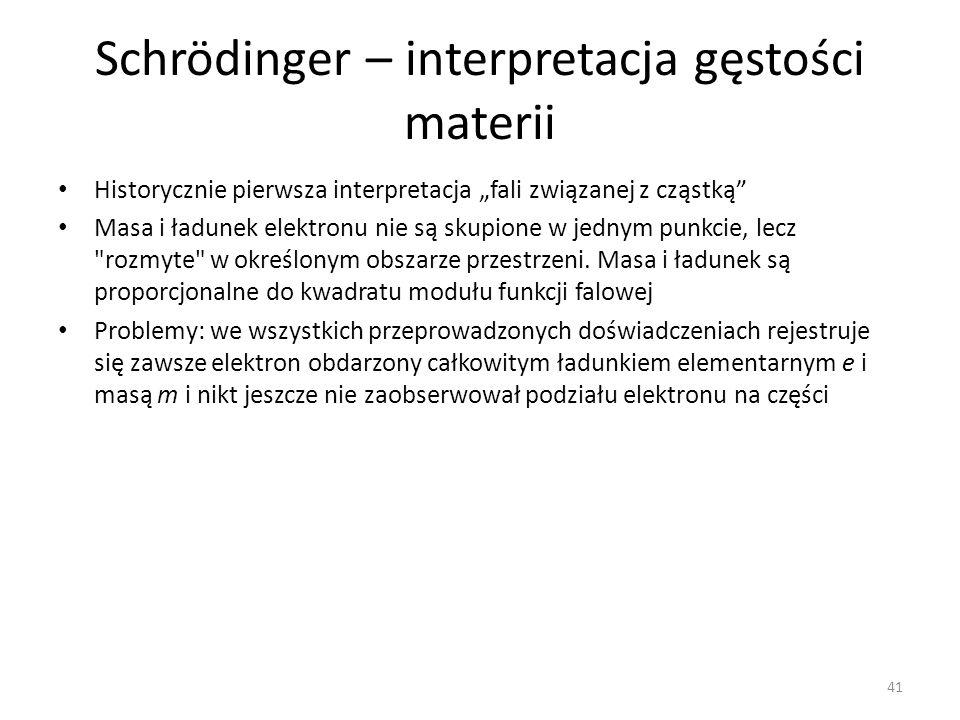 Schrödinger – interpretacja gęstości materii Historycznie pierwsza interpretacja fali związanej z cząstką Masa i ładunek elektronu nie są skupione w jednym punkcie, lecz rozmyte w określonym obszarze przestrzeni.