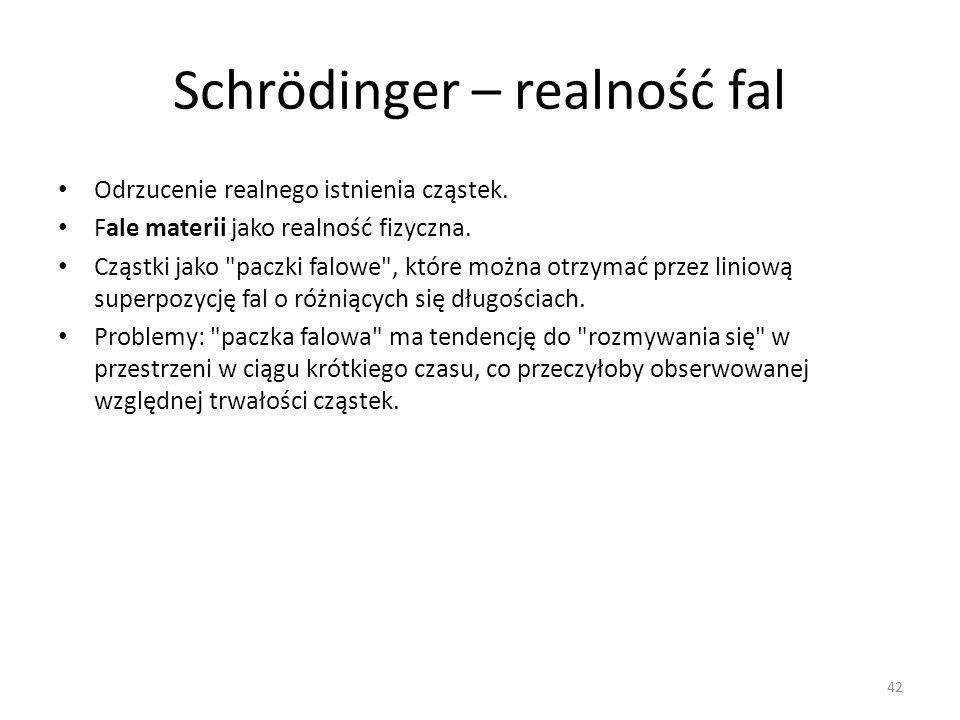 Schrödinger – realność fal Odrzucenie realnego istnienia cząstek.