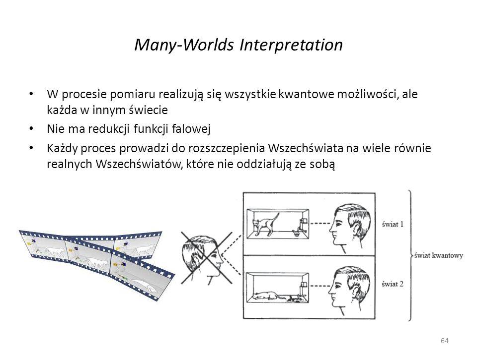 Many-Worlds Interpretation W procesie pomiaru realizują się wszystkie kwantowe możliwości, ale każda w innym świecie Nie ma redukcji funkcji falowej Każdy proces prowadzi do rozszczepienia Wszechświata na wiele równie realnych Wszechświatów, które nie oddziałują ze sobą 64