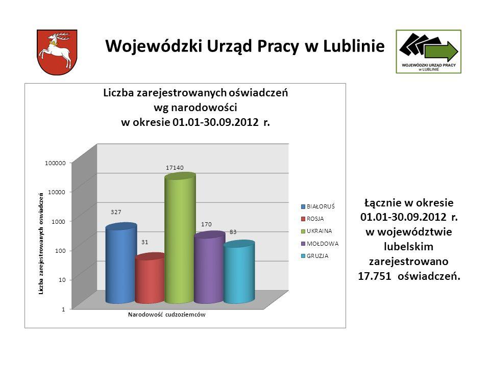 Łącznie w okresie 01.01-30.09.2012 r. w województwie lubelskim zarejestrowano 17.751 oświadczeń.