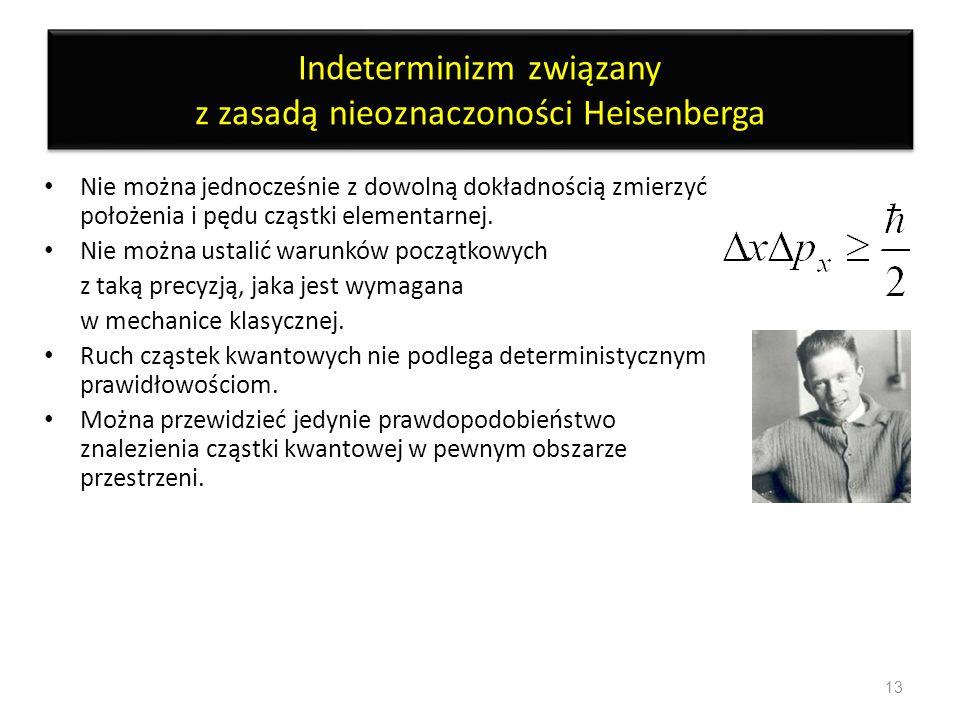 Indeterminizm związany z zasadą nieoznaczoności Heisenberga Nie można jednocześnie z dowolną dokładnością zmierzyć położenia i pędu cząstki elementarn