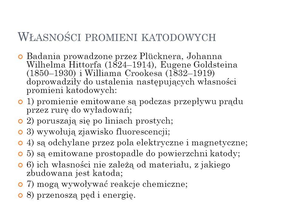 W ŁASNOŚCI PROMIENI KATODOWYCH Badania prowadzone przez Plücknera, Johanna Wilhelma Hittorfa (1824–1914), Eugene Goldsteina (1850–1930) i Williama Cro