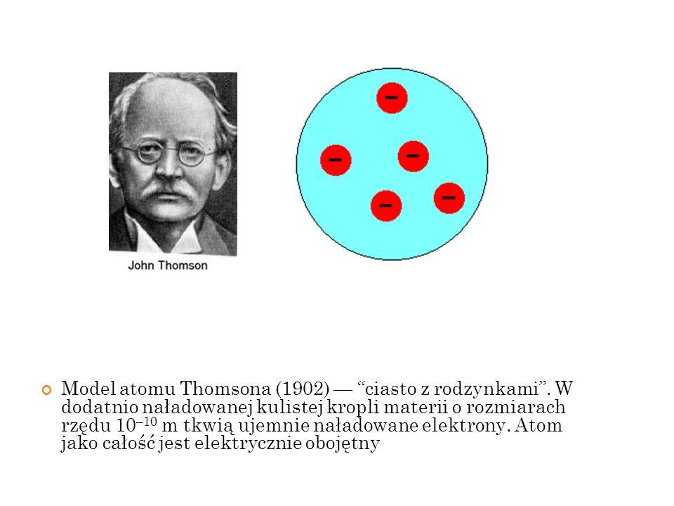 Model atomu Thomsona (1902) ciasto z rodzynkami. W dodatnio naładowanej kulistej kropli materii o rozmiarach rzędu 10 –10 m tkwią ujemnie naładowane e