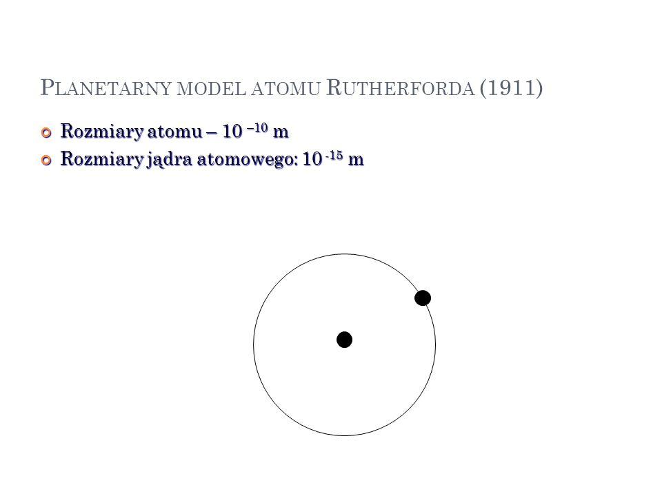 P LANETARNY MODEL ATOMU R UTHERFORDA (1911) Rozmiary atomu – 10 –10 m Rozmiary atomu – 10 –10 m Rozmiary jądra atomowego: 10 -15 m Rozmiary jądra atom
