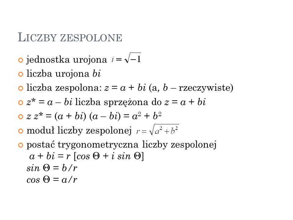 L ICZBY ZESPOLONE jednostka urojona liczba urojona bi liczba zespolona: z = a + bi (a, b – rzeczywiste) z * = a – bi liczba sprzężona do z = a + bi z