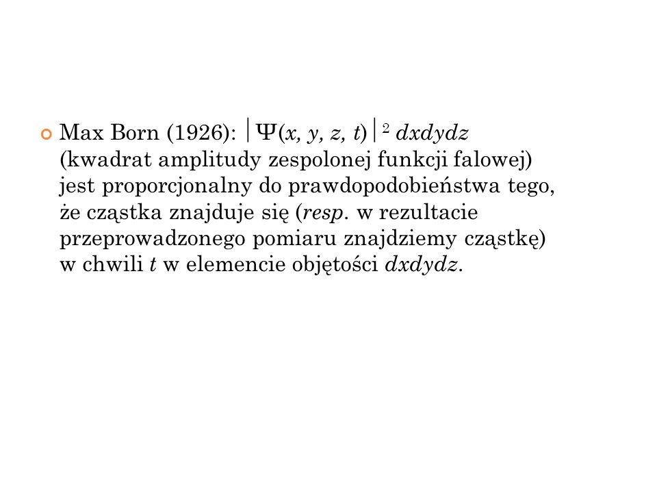 Max Born (1926): Ψ( x, y, z, t ) 2 dxdydz (kwadrat amplitudy zespolonej funkcji falowej) jest proporcjonalny do prawdopodobieństwa tego, że cząstka zn