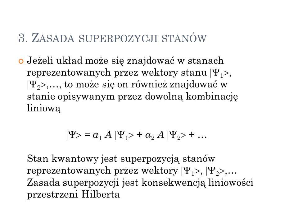 3. Z ASADA SUPERPOZYCJI STANÓW Jeżeli układ może się znajdować w stanach reprezentowanych przez wektory stanu 1, 2,…, to może się on również znajdować