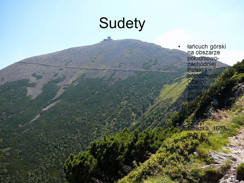 Sudety łańcuch górski na obszarze południowo- zachodniej Polski i północnych Czech, stosunkowo niewielki skrawek znajduje się w Niemczech; najwyższy s