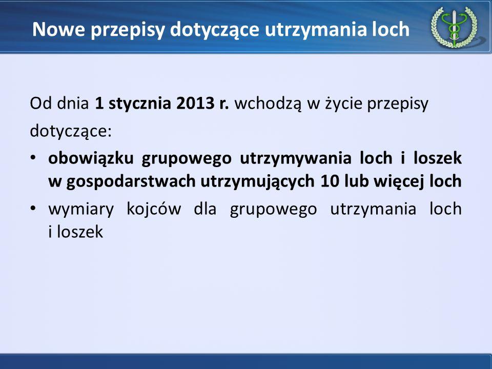 Nowe przepisy dotyczące utrzymania loch Od dnia 1 stycznia 2013 r.