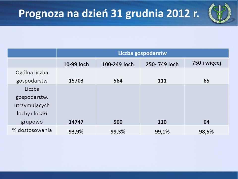 Prognoza na dzień 31 grudnia 2012 r.