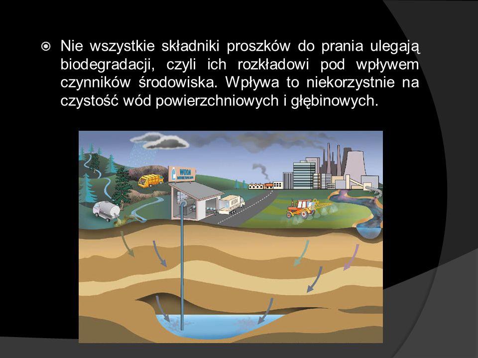 Nie wszystkie składniki proszków do prania ulegają biodegradacji, czyli ich rozkładowi pod wpływem czynników środowiska. Wpływa to niekorzystnie na cz