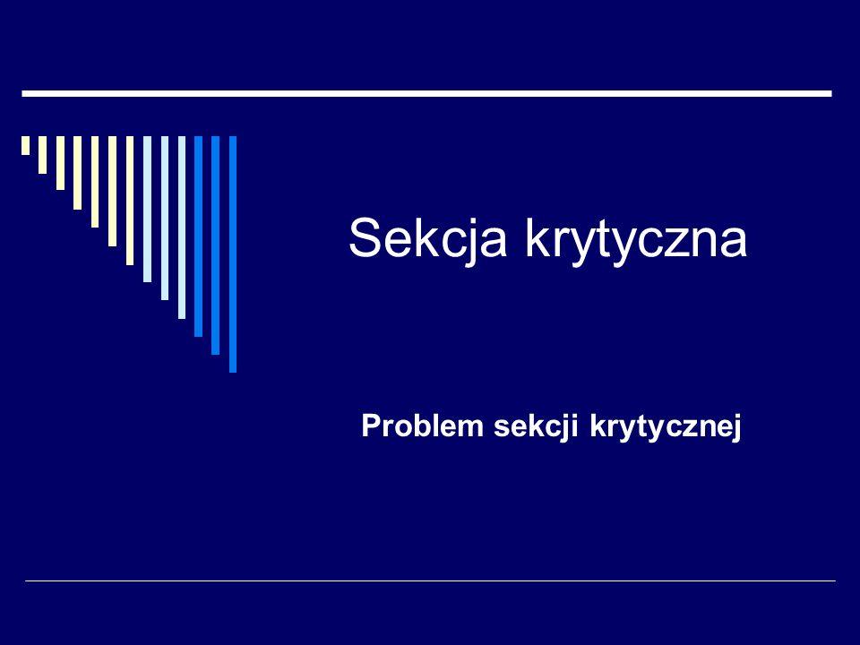 Sekcja krytyczna Problem sekcji krytycznej