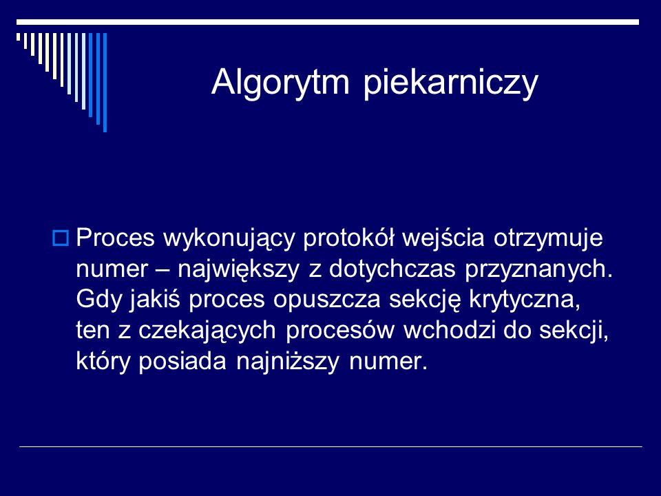 Algorytm piekarniczy Proces wykonujący protokół wejścia otrzymuje numer – największy z dotychczas przyznanych. Gdy jakiś proces opuszcza sekcję krytyc