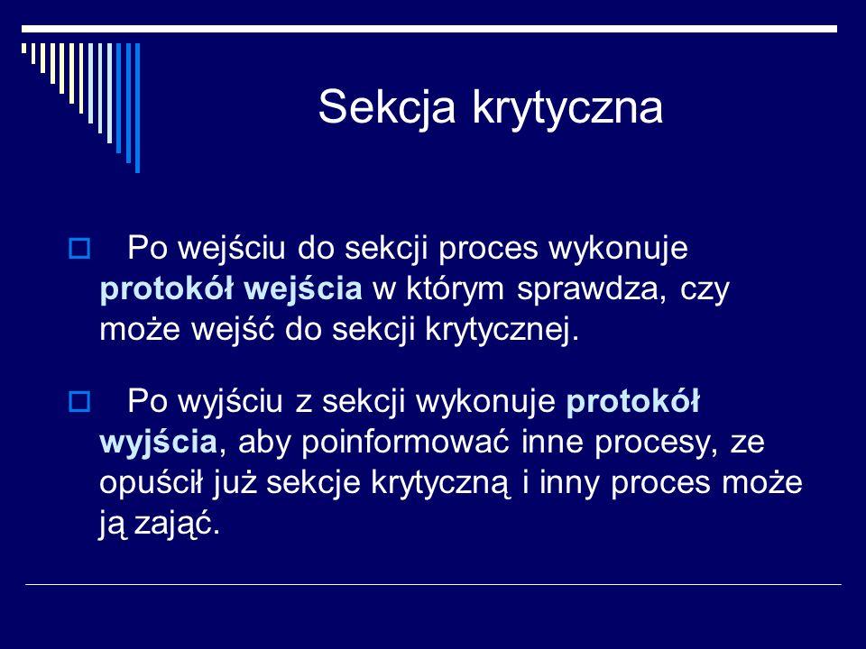 Sekcja krytyczna Po wejściu do sekcji proces wykonuje protokół wejścia w którym sprawdza, czy może wejść do sekcji krytycznej. Po wyjściu z sekcji wyk