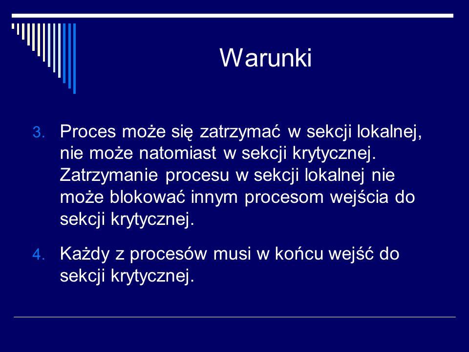 Warunki 3. Proces może się zatrzymać w sekcji lokalnej, nie może natomiast w sekcji krytycznej. Zatrzymanie procesu w sekcji lokalnej nie może blokowa