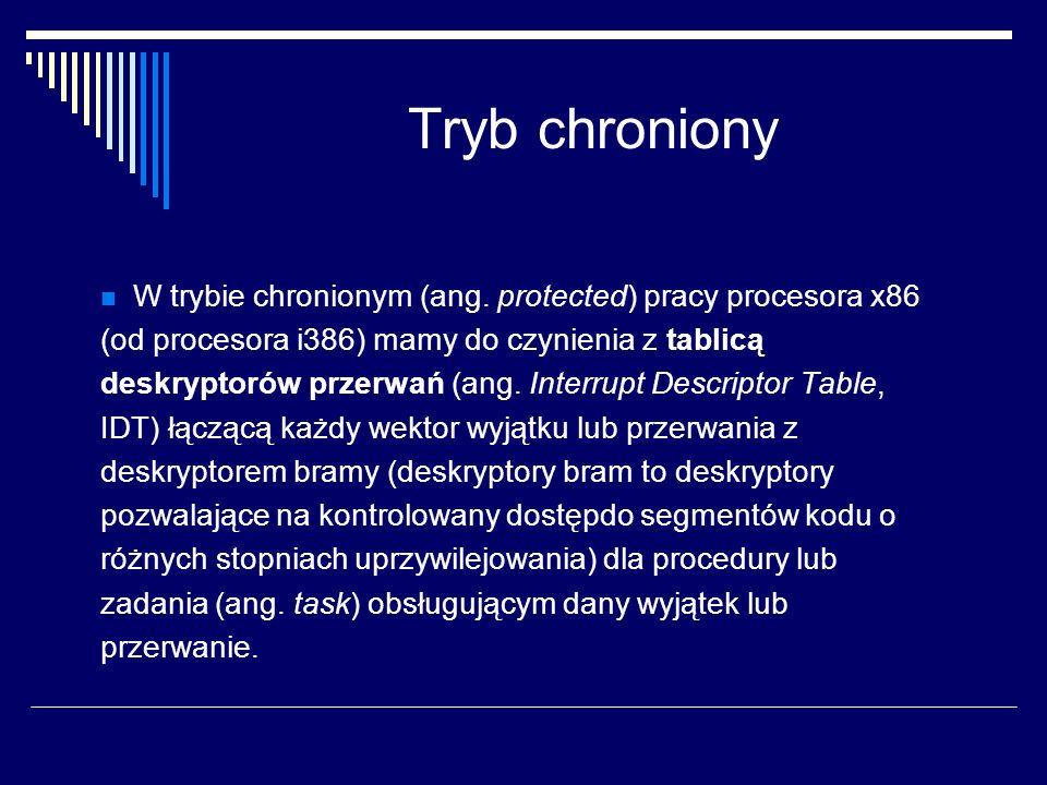 Tryb chroniony W trybie chronionym (ang. protected) pracy procesora x86 (od procesora i386) mamy do czynienia z tablicą deskryptorów przerwań (ang. In