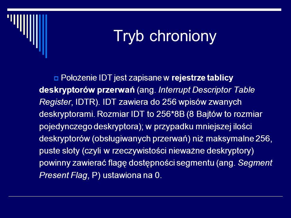 Tryb chroniony Położenie IDT jest zapisane w rejestrze tablicy deskryptorów przerwań (ang. Interrupt Descriptor Table Register, IDTR). IDT zawiera do