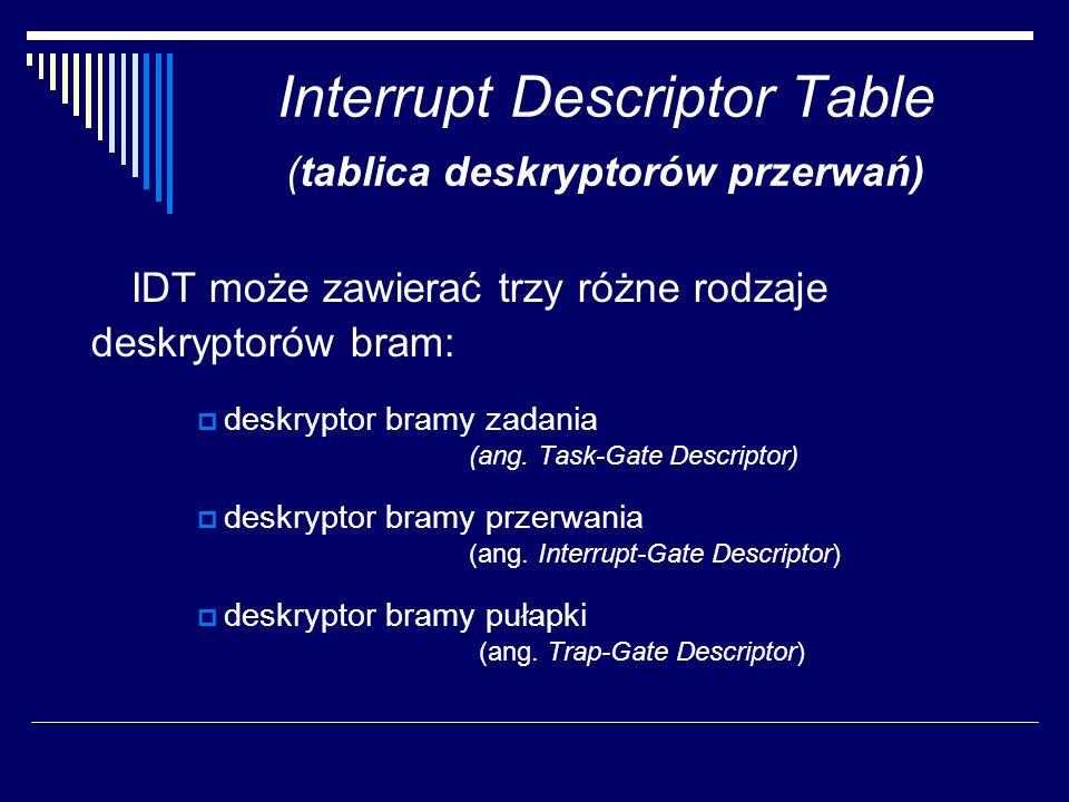 Interrupt Descriptor Table (tablica deskryptorów przerwań) IDT może zawierać trzy różne rodzaje deskryptorów bram: deskryptor bramy zadania (ang. Task