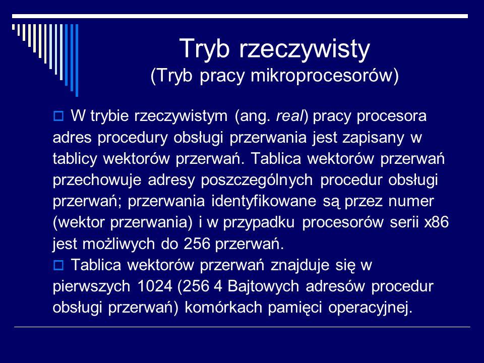Tryb rzeczywisty (Tryb pracy mikroprocesorów) W trybie rzeczywistym (ang. real) pracy procesora adres procedury obsługi przerwania jest zapisany w tab