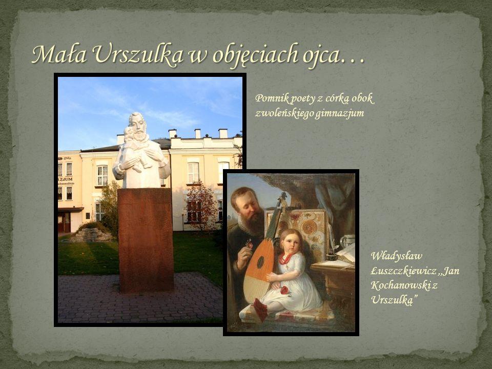 Pomnik poety z córką obok zwoleńskiego gimnazjum Władysław Łuszczkiewicz,,Jan Kochanowski z Urszulką