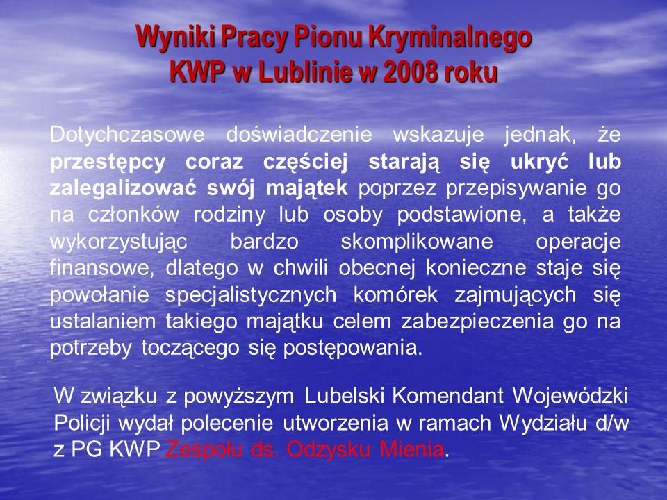 Wyniki Pracy Pionu Kryminalnego KWP w Lublinie w 2008 roku Dotychczasowe doświadczenie wskazuje jednak, że przestępcy coraz częściej starają się ukryć lub zalegalizować swój majątek poprzez przepisywanie go na członków rodziny lub osoby podstawione, a także wykorzystując bardzo skomplikowane operacje finansowe, dlatego w chwili obecnej konieczne staje się powołanie specjalistycznych komórek zajmujących się ustalaniem takiego majątku celem zabezpieczenia go na potrzeby toczącego się postępowania.