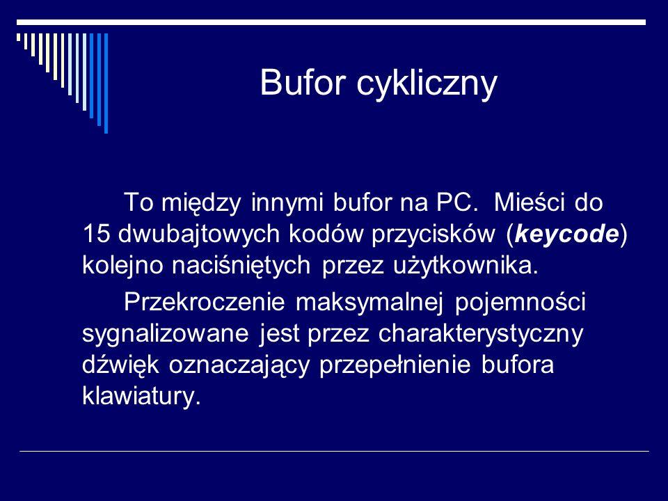 Bufor cykliczny To między innymi bufor na PC. Mieści do 15 dwubajtowych kodów przycisków (keycode) kolejno naciśniętych przez użytkownika. Przekroczen
