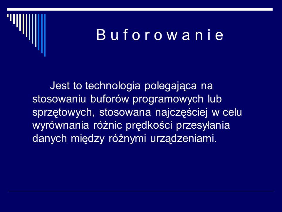 B u f o r o w a n i e Jest to technologia polegająca na stosowaniu buforów programowych lub sprzętowych, stosowana najczęściej w celu wyrównania różni