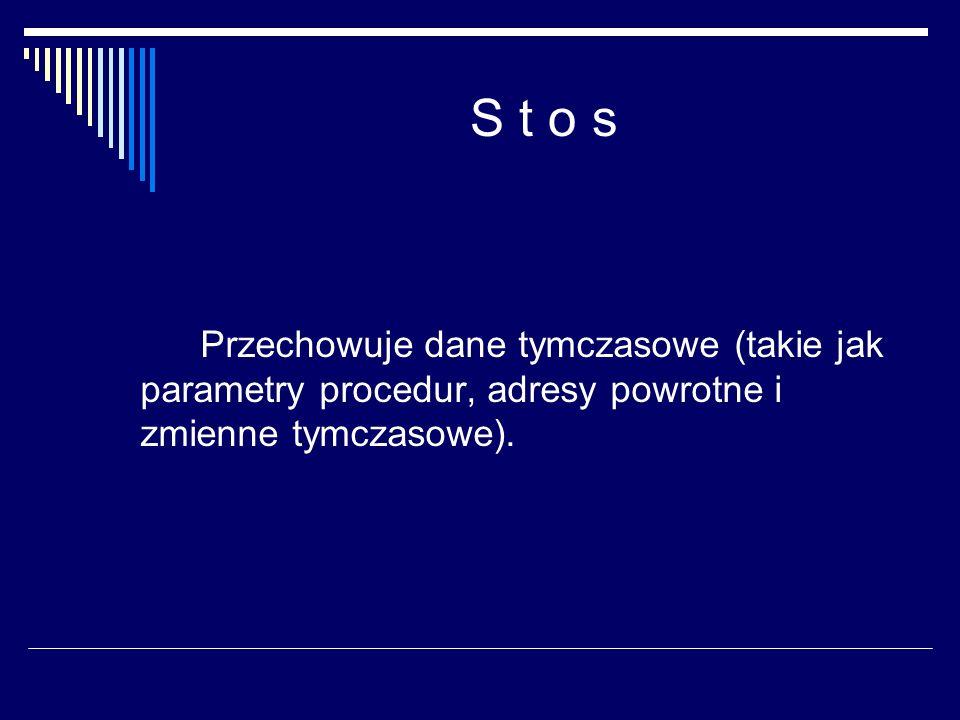 S t o s Przechowuje dane tymczasowe (takie jak parametry procedur, adresy powrotne i zmienne tymczasowe).