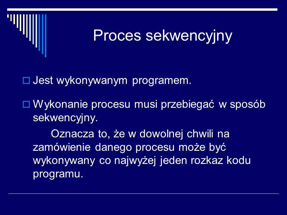 P r o c e s Proces jest jednostką pracy systemu Proces jest elementarną jednostką pracy (aktywności) zarządzaną przez system operacyjny, która ubiega się o zasoby systemu komputerowego w celu wykonania programu.
