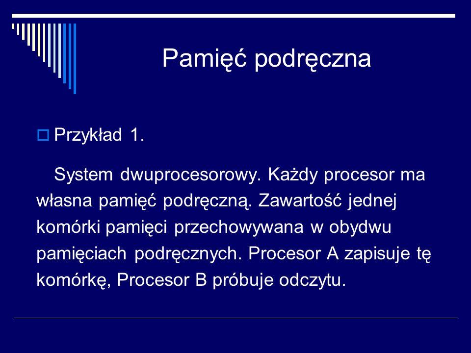 Pamięć podręczna Przykład 1. System dwuprocesorowy.