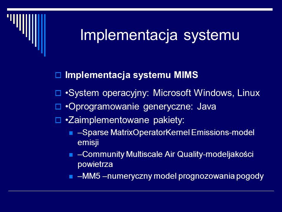Implementacja systemu Implementacja systemu MIMS System operacyjny: Microsoft Windows, Linux Oprogramowanie generyczne: Java Zaimplementowane pakiety: