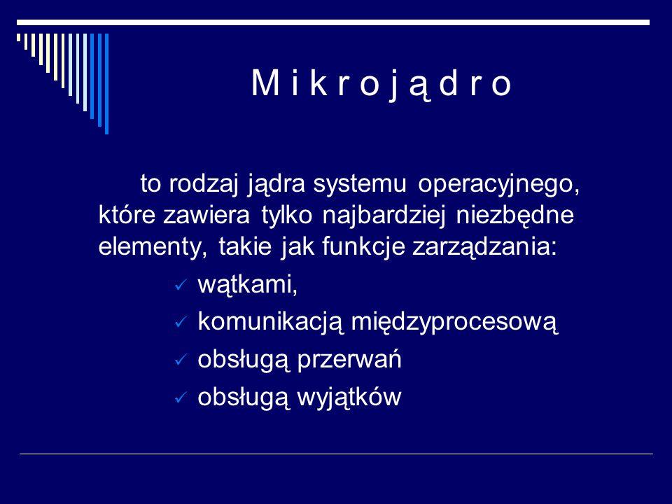 M i k r o j ą d r o to rodzaj jądra systemu operacyjnego, które zawiera tylko najbardziej niezbędne elementy, takie jak funkcje zarządzania: wątkami, komunikacją międzyprocesową obsługą przerwań obsługą wyjątków