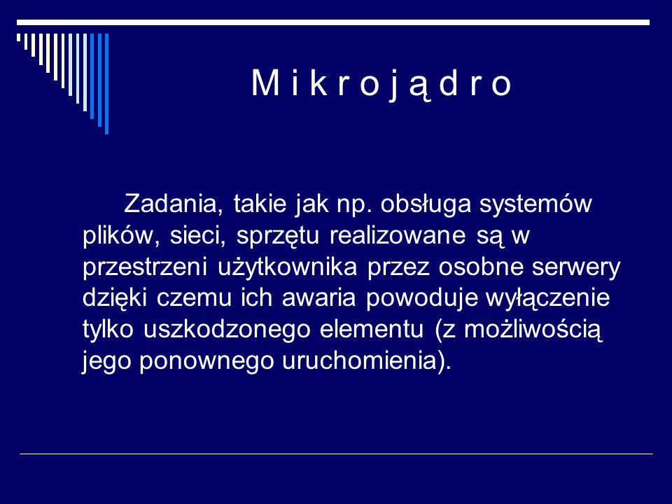 M i k r o j ą d r o Zadania, takie jak np. obsługa systemów plików, sieci, sprzętu realizowane są w przestrzeni użytkownika przez osobne serwery dzięk