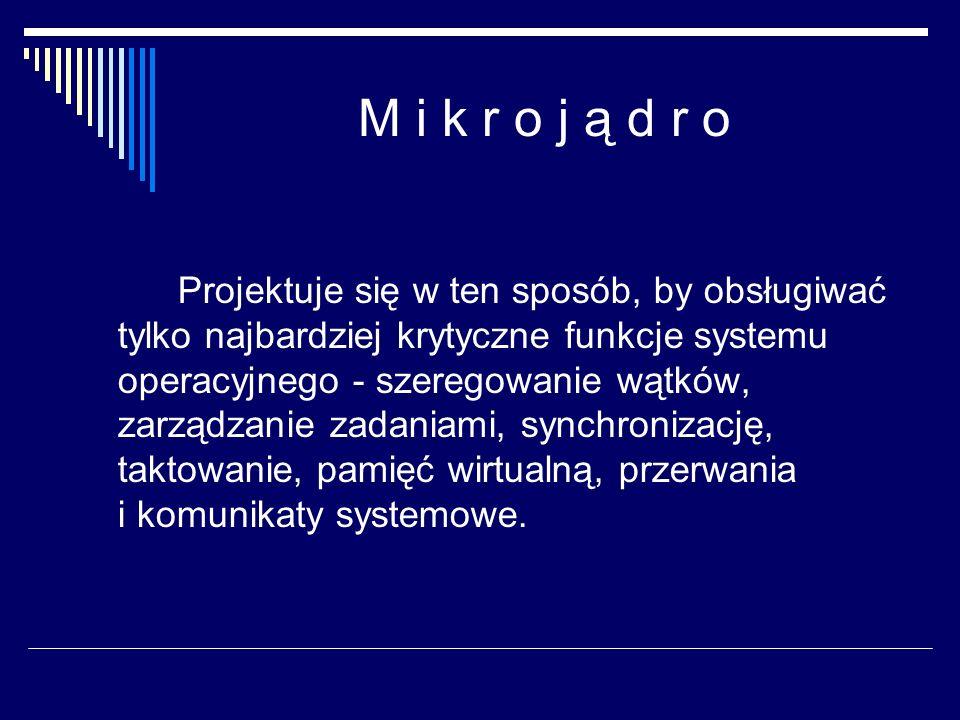 M i k r o j ą d r o Projektuje się w ten sposób, by obsługiwać tylko najbardziej krytyczne funkcje systemu operacyjnego - szeregowanie wątków, zarządzanie zadaniami, synchronizację, taktowanie, pamięć wirtualną, przerwania i komunikaty systemowe.