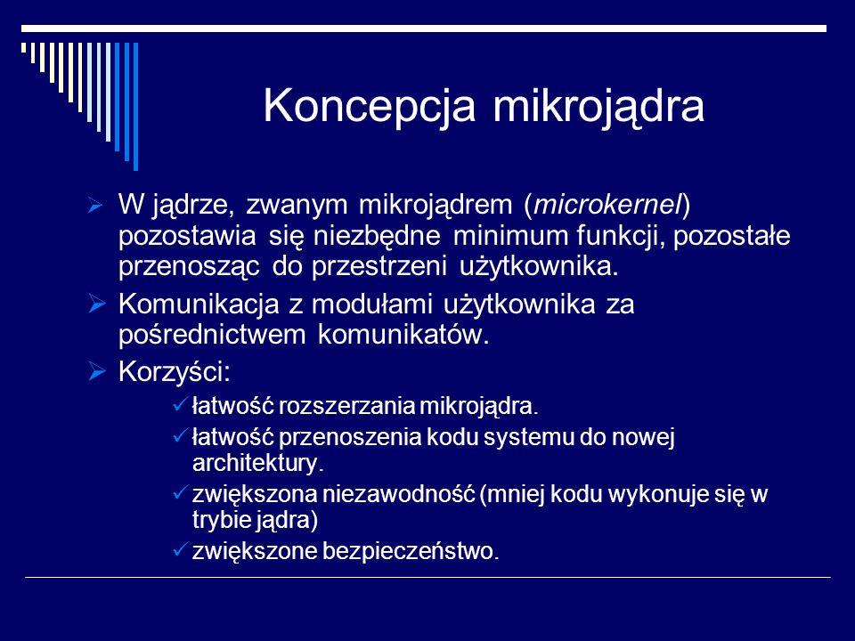 Koncepcja mikrojądra W jądrze, zwanym mikrojądrem (microkernel) pozostawia się niezbędne minimum funkcji, pozostałe przenosząc do przestrzeni użytkownika.