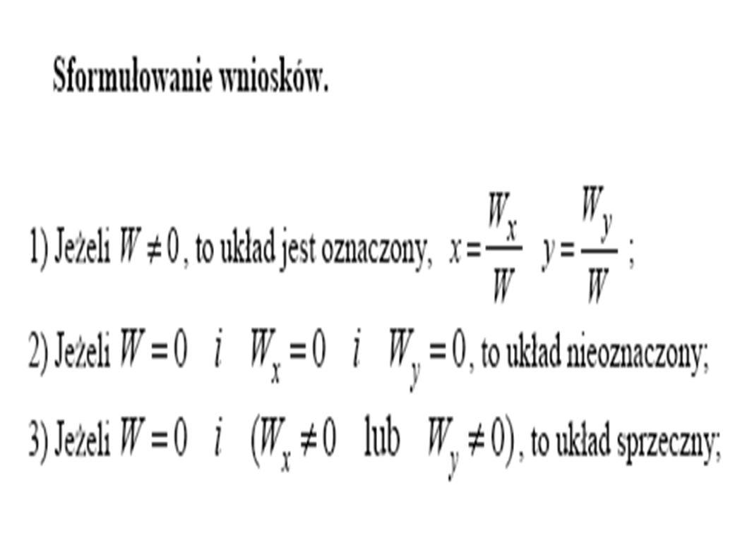 Algorytm obliczania równania z dwiema niewiadomymi.