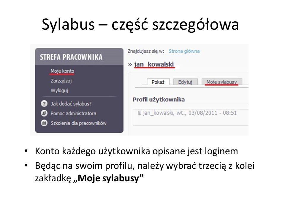 Sylabus – część szczegółowa Konto każdego użytkownika opisane jest loginem Będąc na swoim profilu, należy wybrać trzecią z kolei zakładkę Moje sylabus